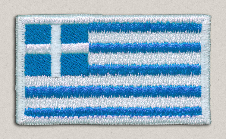 This badge is a flag of Greece in a patch format, ready to be embroidered or ironed
